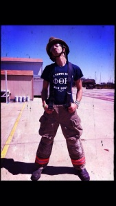 Though wearing the clothes and doing the deed, I am not and never have been a firefighter ;]